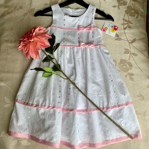 Girls White & Pink Dress  By Jessica Ann
